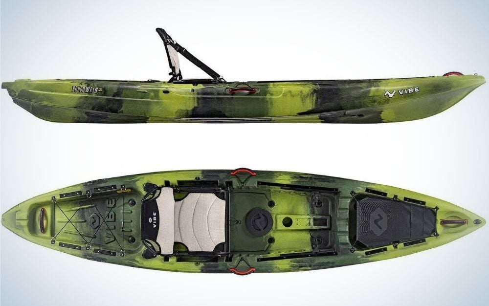 A kayak captured from above and sideways in a military color.
