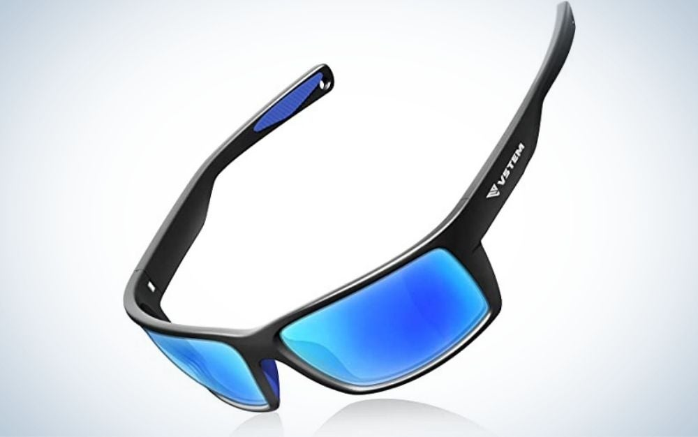 A pair of sunglasses with neon blue and their skeleton black.