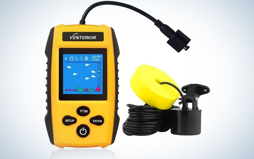 A Venterior fish finder ice kayak fishing gear depth finder looking like a yellow phone with buttons and blue screen.
