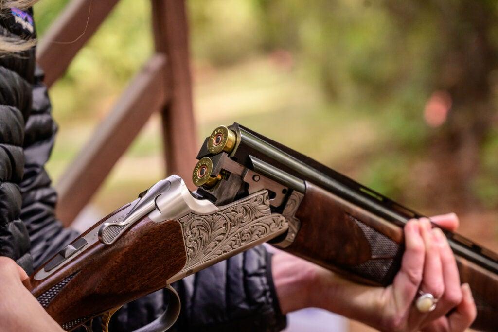 Loading a browning shotgun.