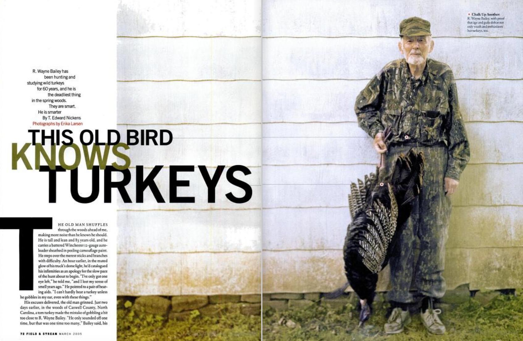 turkey hunter Wayne Bailey poses with a wild turkey.