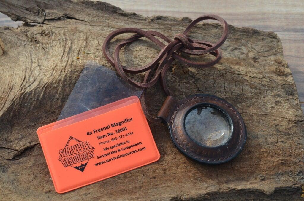 Magnifying lenses for starting fires.