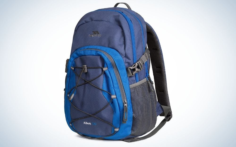 Trespass, electric blue outdoor backpack with multiple pockets
