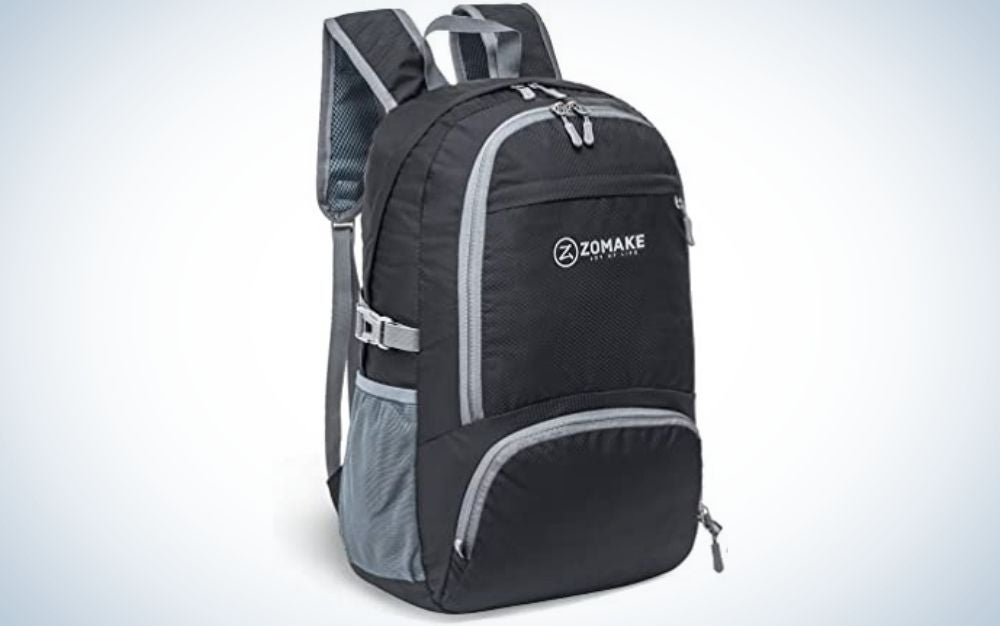 Black ZOMAKE backpack with zipper pockets