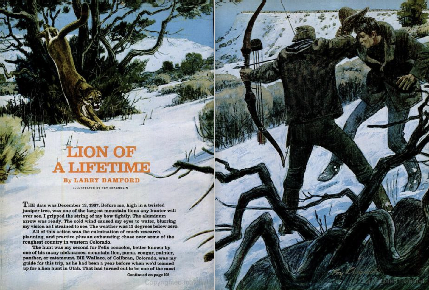 lion hunting story in Field and Stream magazine