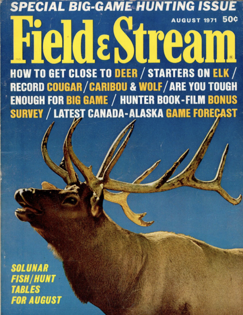 August 1971 cover of Field and Stream magazine