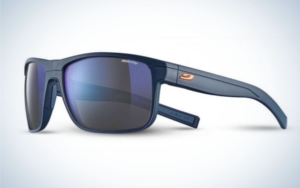 A pair of simple glasses with a blue skeleton structure and also light blue lenses.