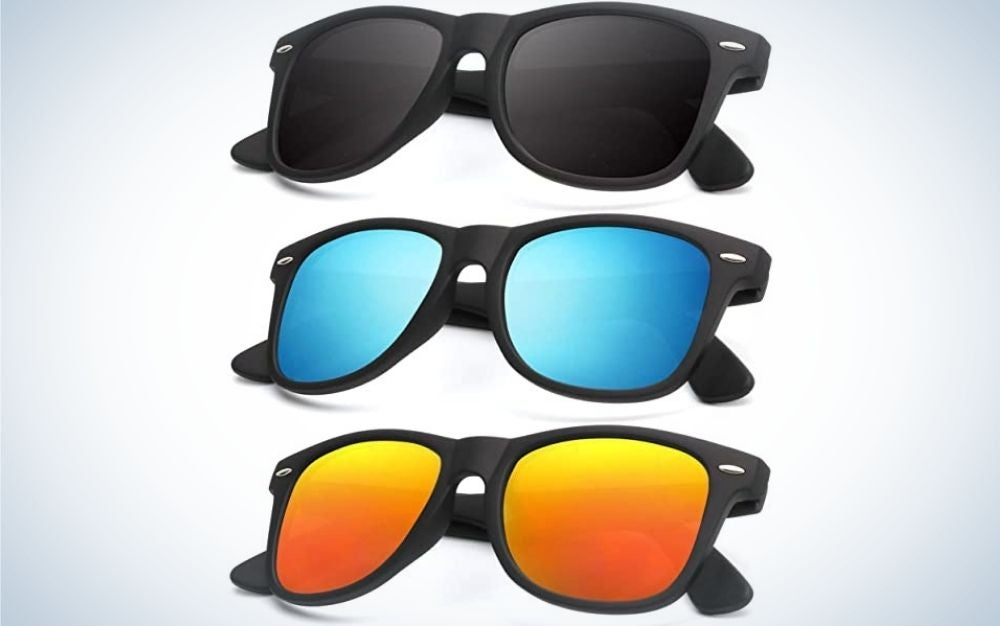 Three pairs of glasses with the same skeletal structure and all three with different neon colors, respectively dark black, neon blue and orange in neon yellow.