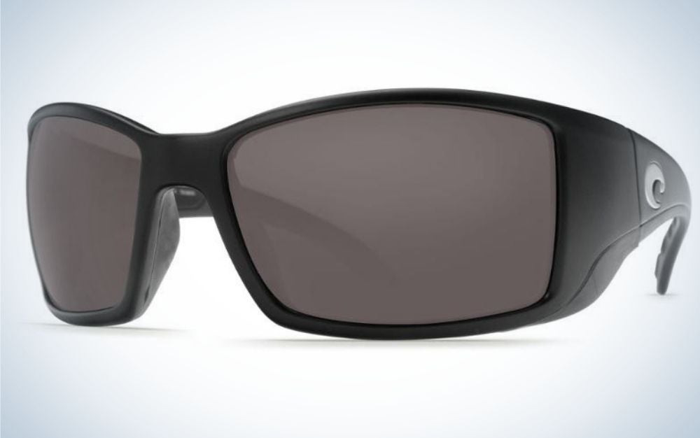 A pair of simple glasses with a black skeleton structure and also black lenses.