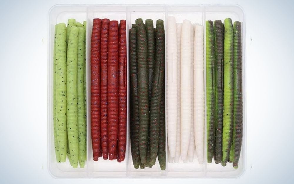 Pack of white, green, gray, and red senko worms