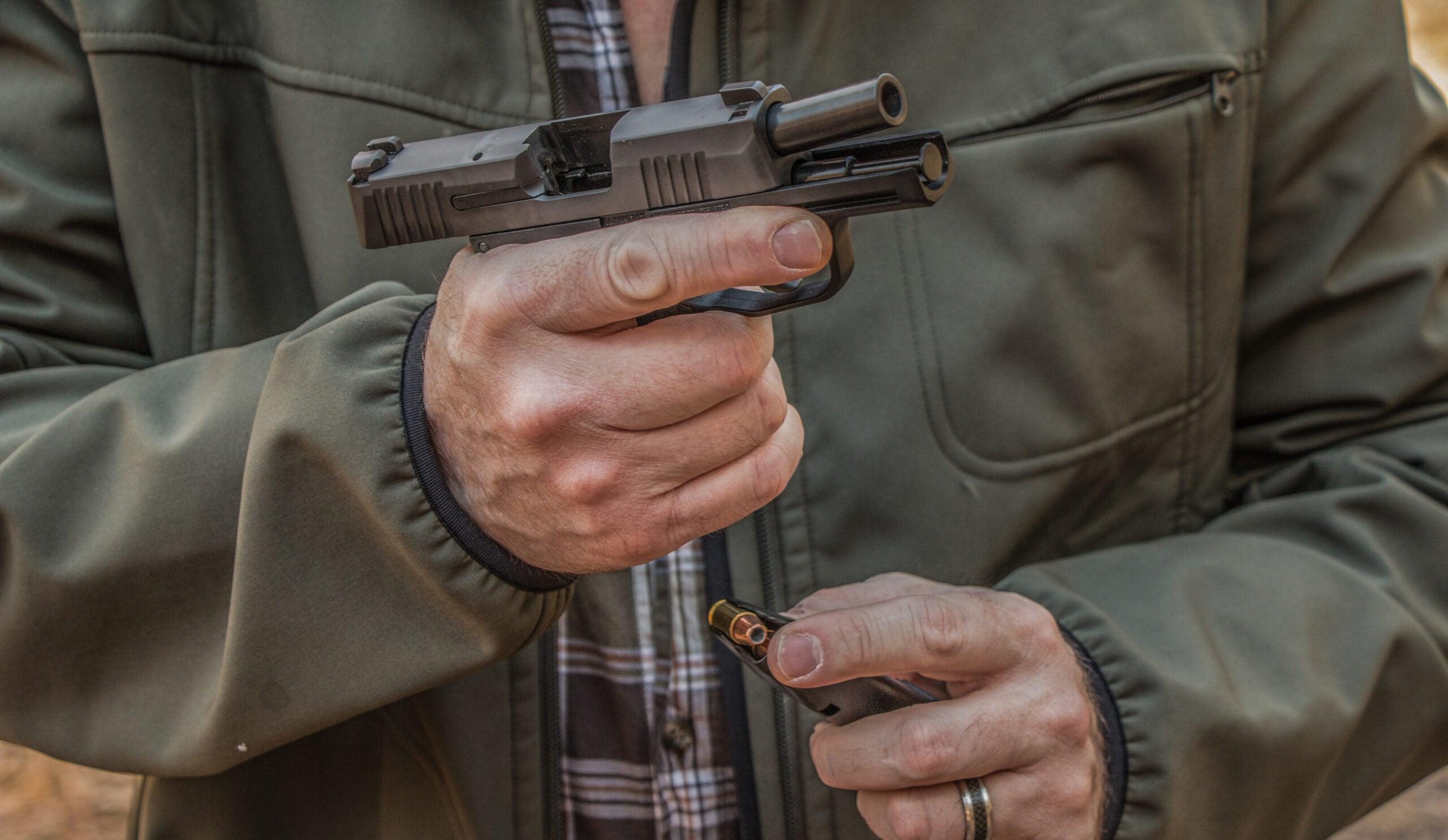 Richard Mann with handgun
