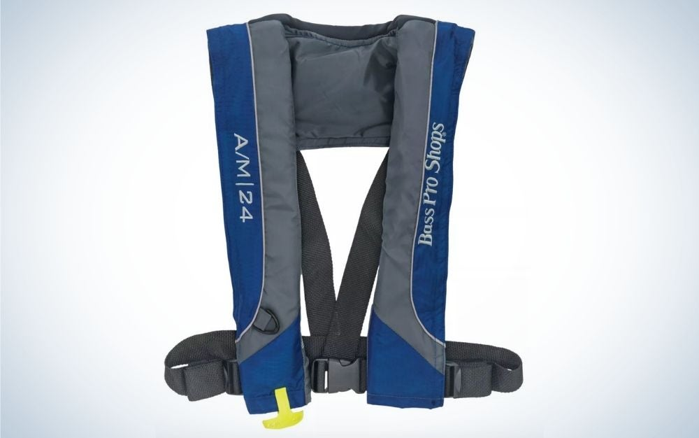 Blue and gray, auto or manual inflatable life vest is a unique gift idea.