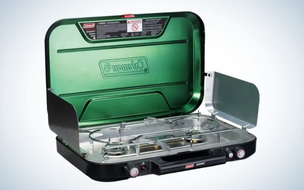 3 burner black and green stove with propane control system is a practical gift for men