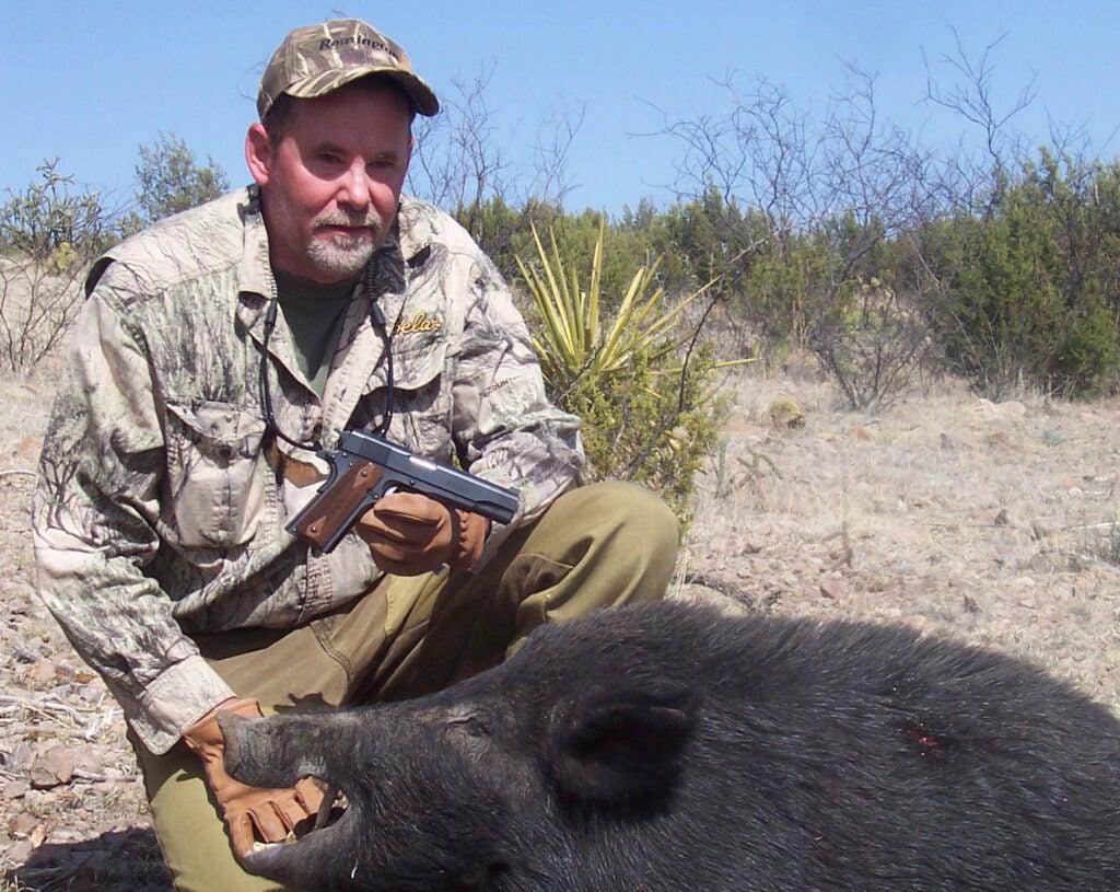 Richard Mann with boar