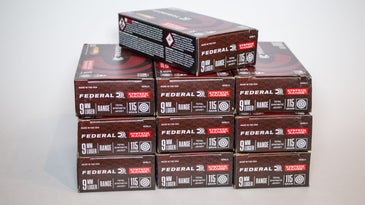 Boxes of 9mm practice ammo on a white background.