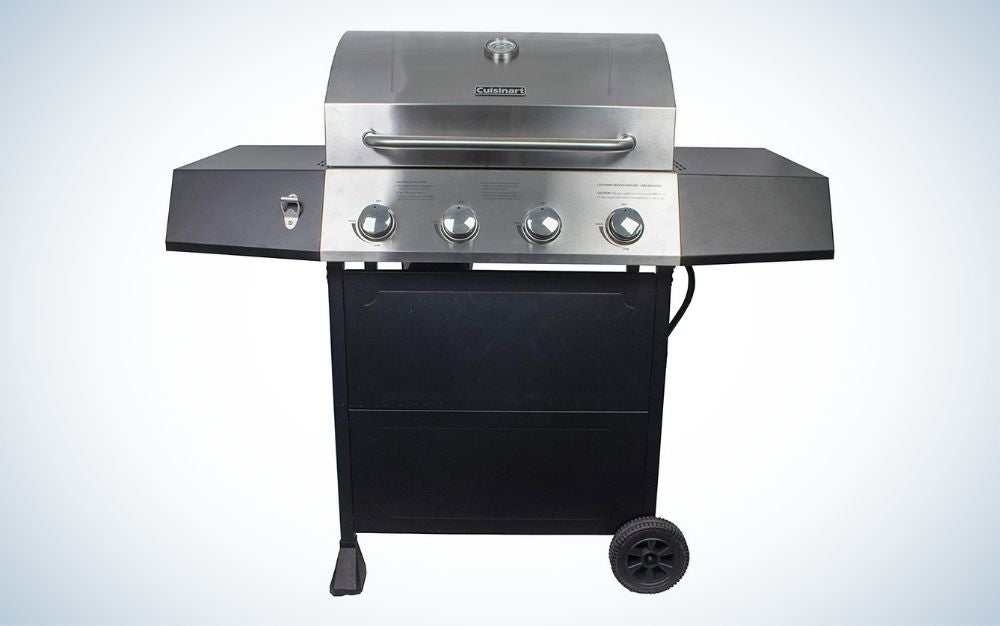 Black gas grill with stainless steel lid with four burners the best prime days deals on grills