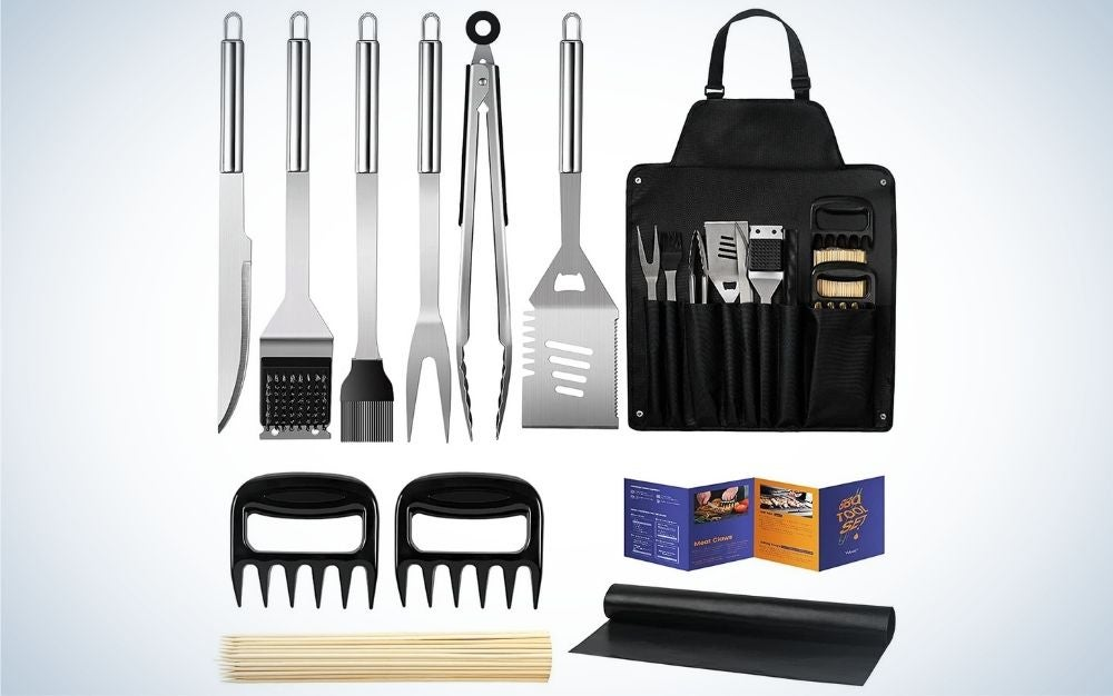 The best prime day deal for grilling are stainless steel BBQ grill accessories with storage apron gift kit
