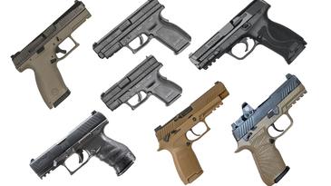 Handguns on a white background