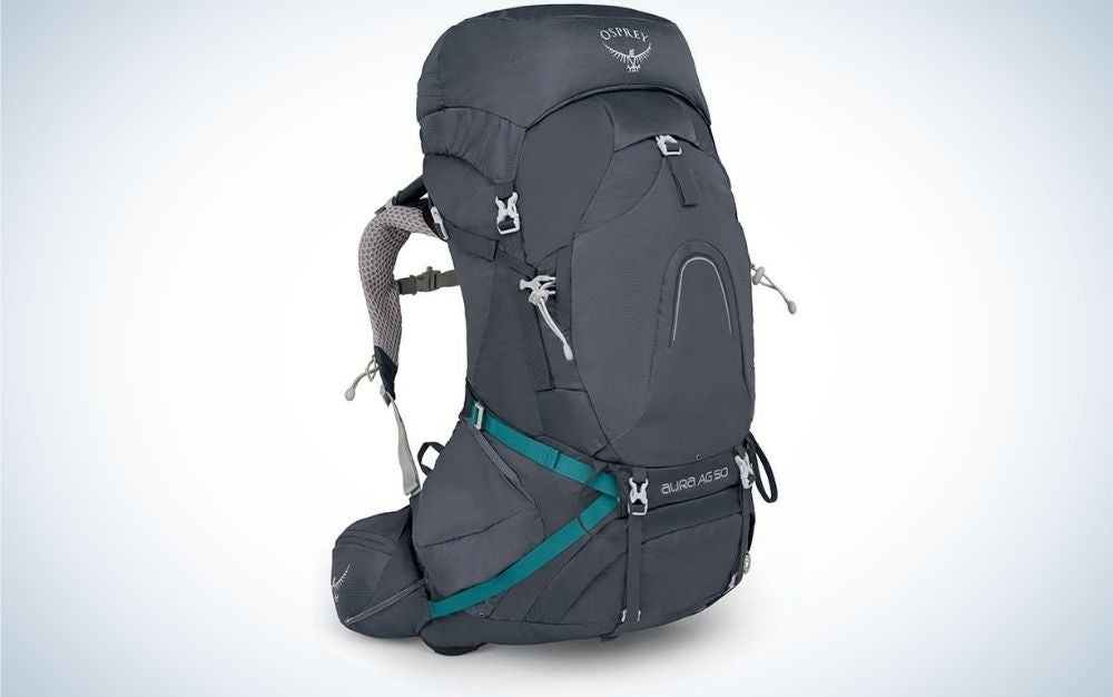 A backpack with a gray color and a bright blue line with gray wings on the back and a large pocket with a zipper on the front.