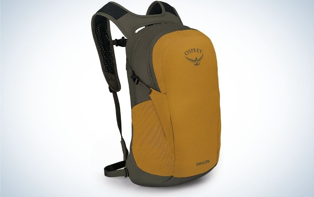 A yellow backpack with gray arms on the back and a large zippered pocket on the front.