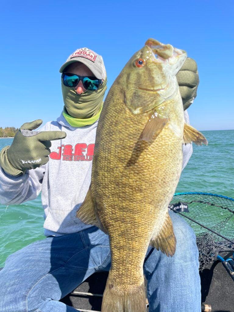 Eric Haataja with big smallmouth bass