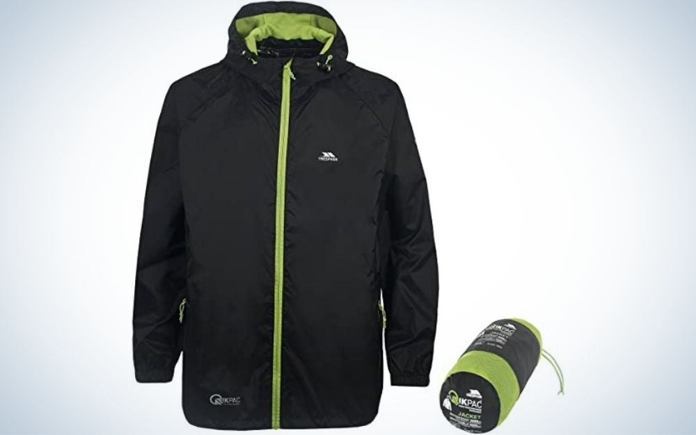 A black jacket with a green zipper on the front and a small rubber band on the back as well as some green and black on the side of the jacket.