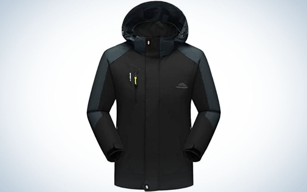 A black jacket with a black zipper on the front and a small rubber band on the back.