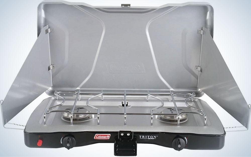 Light gray Coleman camping stove