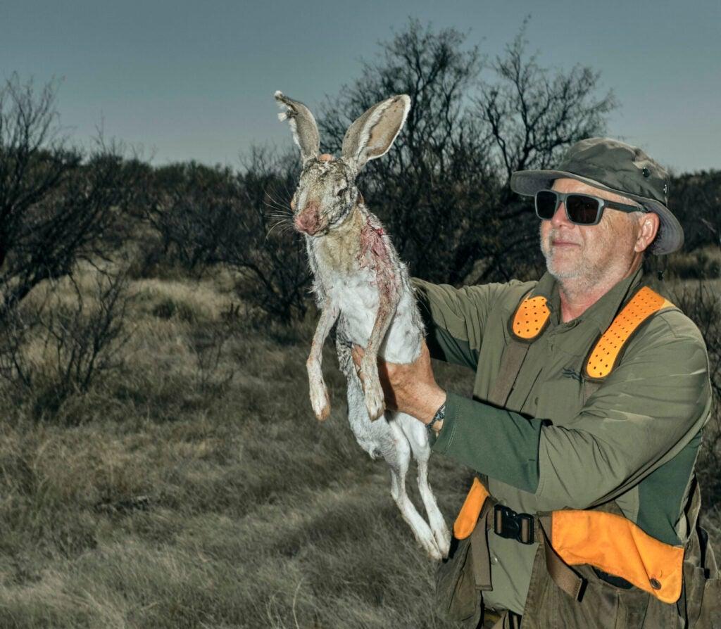 hunter with a jackrabbit
