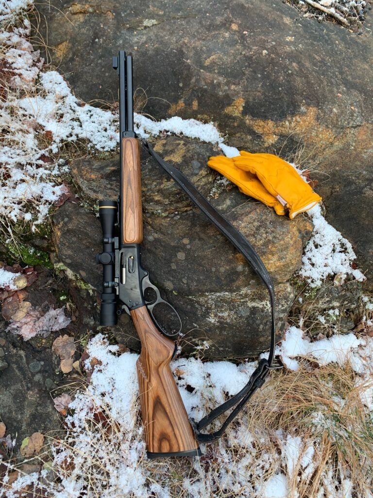 Lever action rifle with a Leupold scope