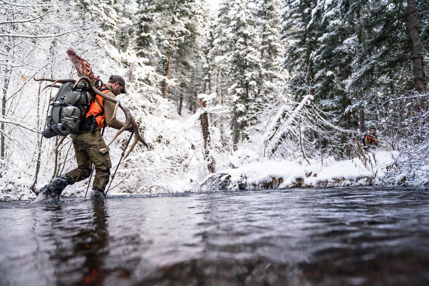 Elk hunter packs out a bull in the winter.