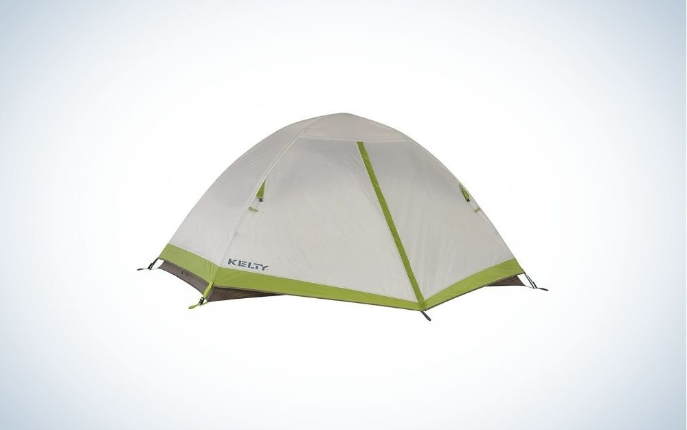 A camping tent is a person with an oval shape from above and all covered, which is white and only the sides have a thick green line.