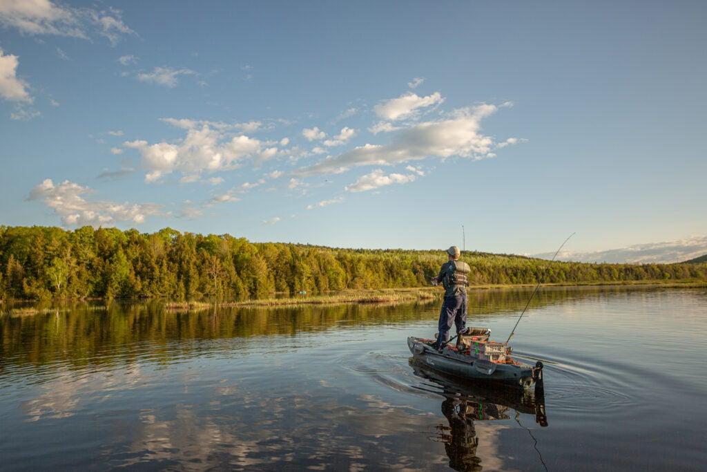 Angler fishing off of the Old Town Predator PDL kayak