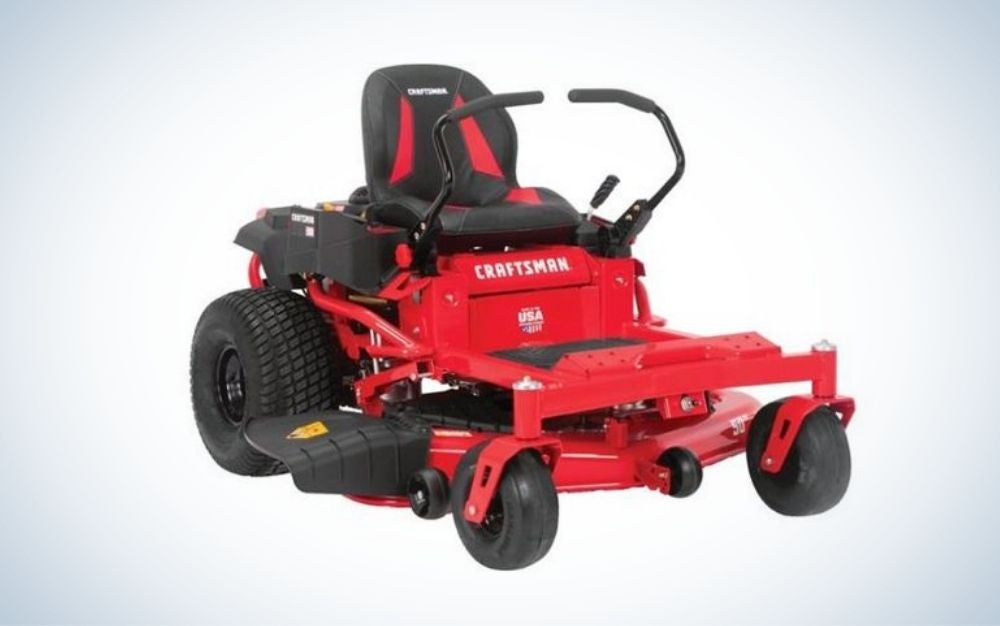 Red and black zero turn lawn mower