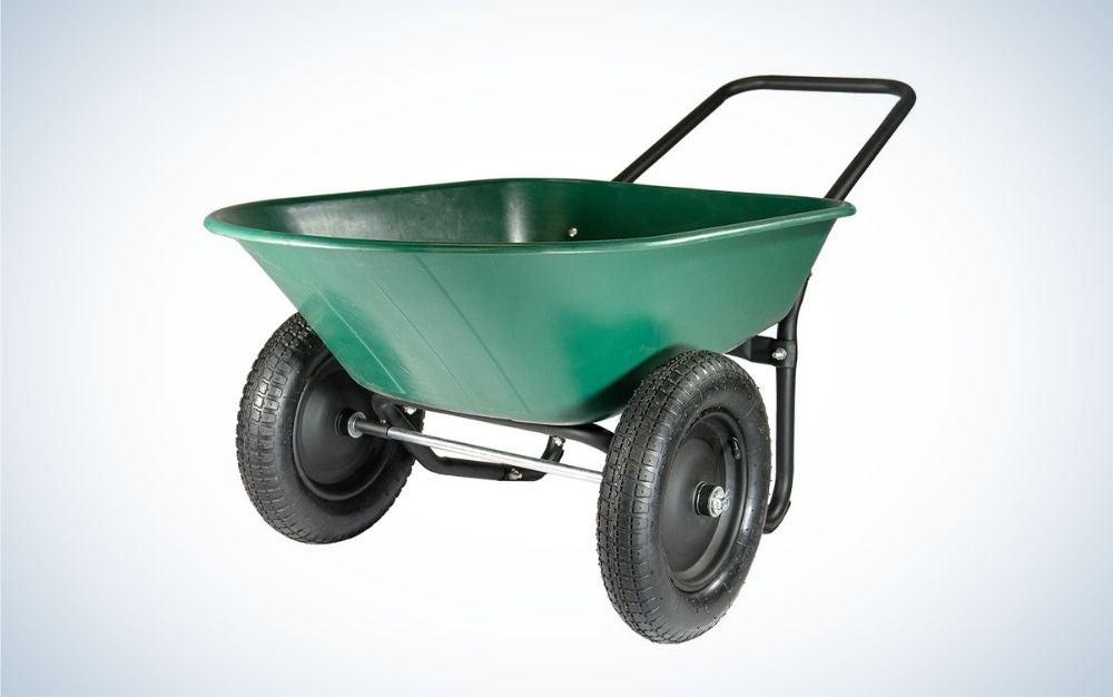 Green, dual wheel, poly tray yard rover wheelbarrow