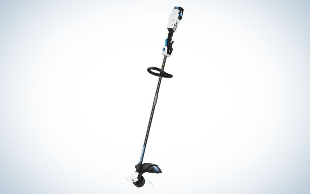 Black and gray brushless string trimmer with bump feed head