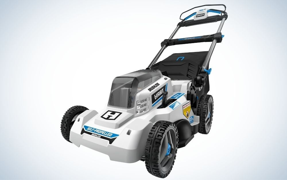 Black and gray battery powered lawn mower with folding handles