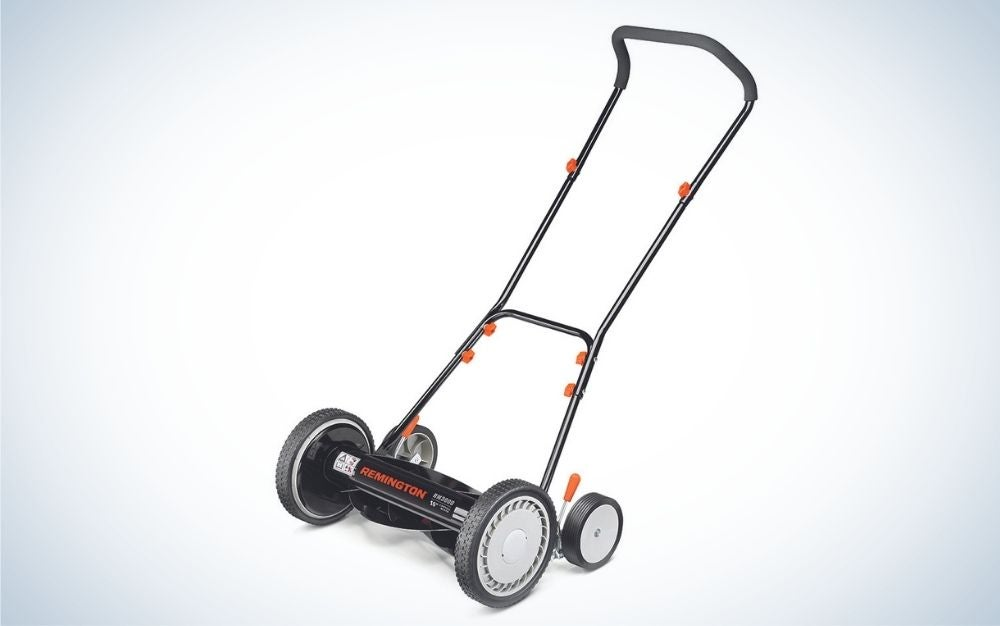 Black reel push mower with adjustable height position