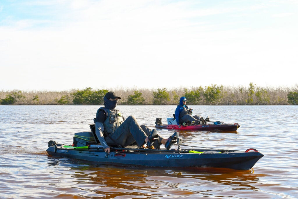 Two anglers pedaling the vibe shearwater 125
