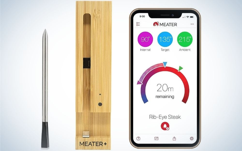 A thin silver metal hoscope which is a meat thermometer, as well as a box to place wooden material, as well as a screen with some numbers and programs in it.