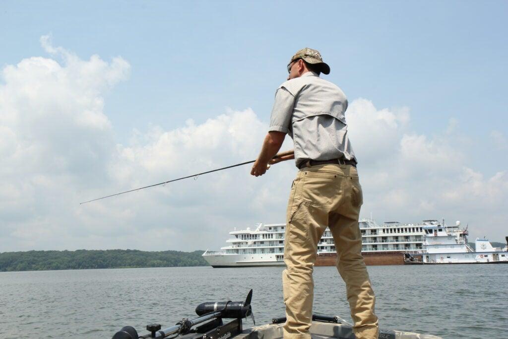 Fisherman bass fishing on Lake Barkley