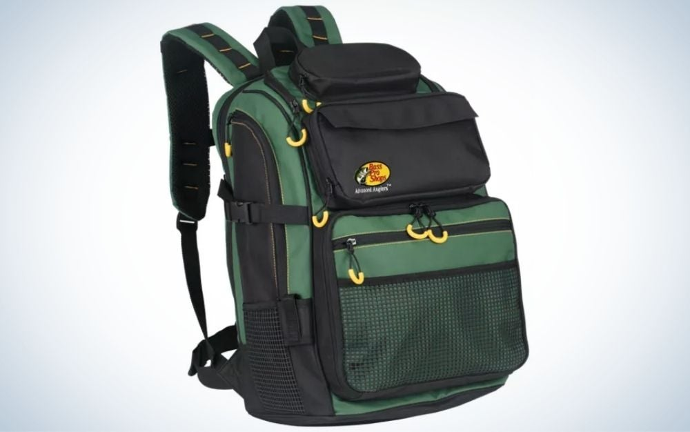 A large backpack with two holders to hold by the shoulders, with several wide pockets with chains, all black and dark green.
