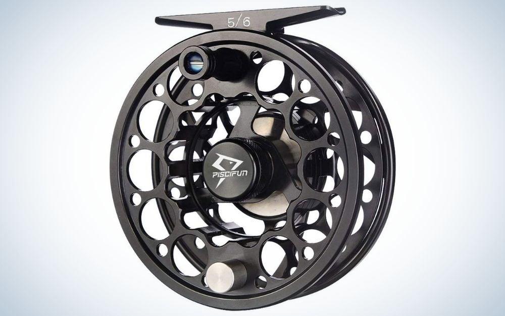 Black, aluminum trout fly reel
