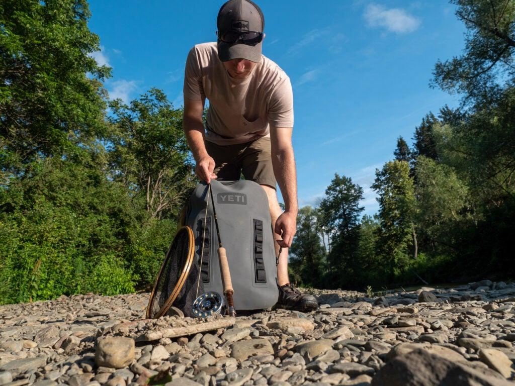 Yeti Panga backpack on a fishing trip.
