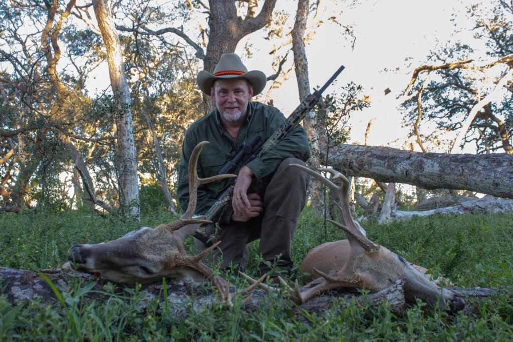 Richard Mann with whitetail bucks