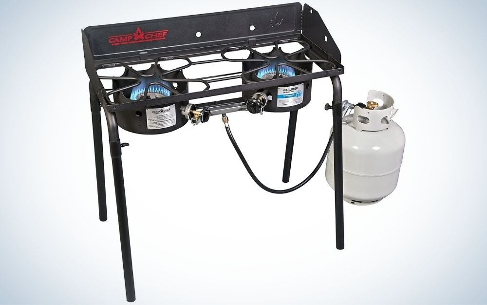 Black, alloy steel, two-burner camping stove