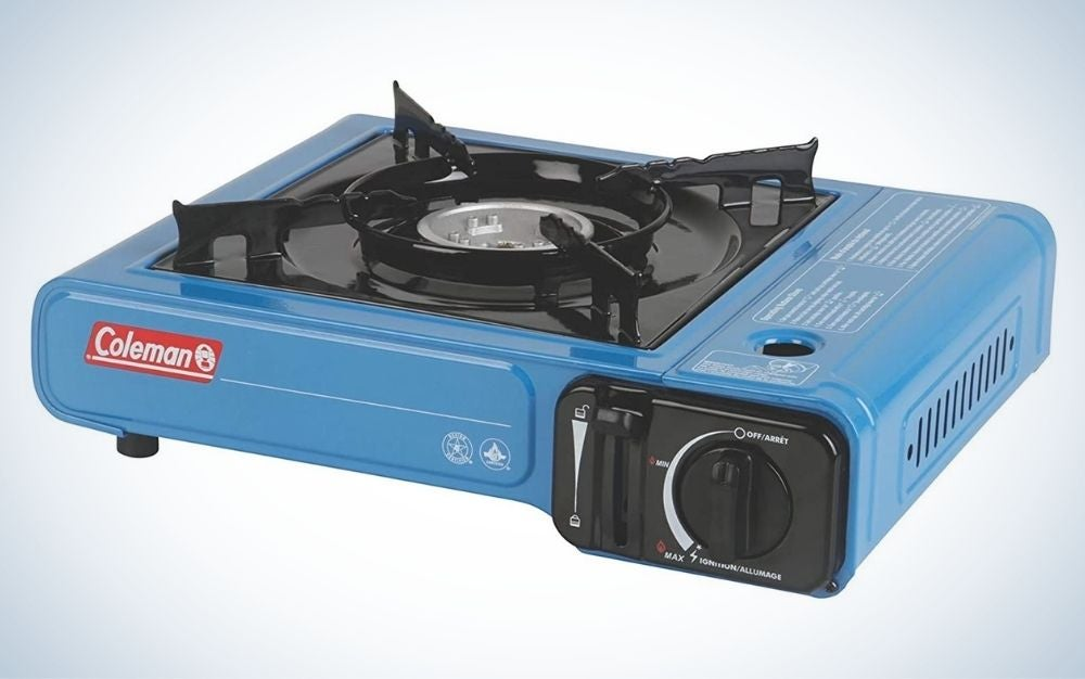 Blue and black, portable butane stove with carrying case