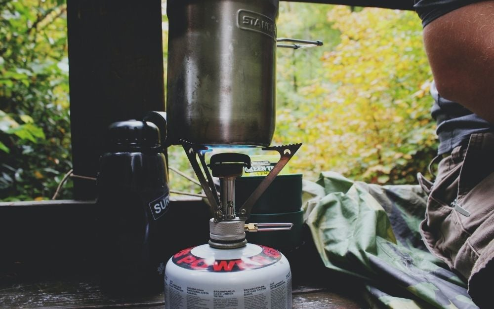 Black and silver camp stove