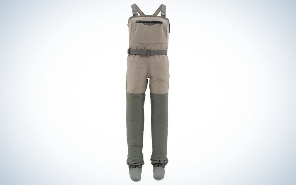 A pair of overalls for women which have two laces from above and legs with long sleeves below as well as a black belt in the middle, as well as are gray in color and with a square pocket on the front.