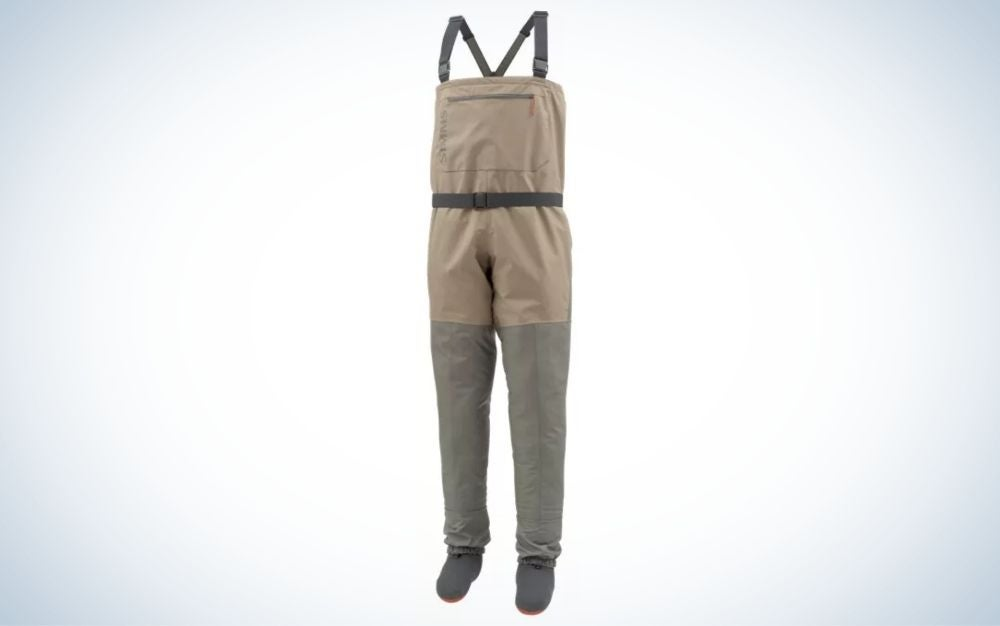 A pair of overalls which have two laces from above and legs with long sleeves below, as well as are grey and with a square pocket on the front.